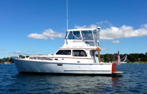 David Bond's 1957 Egg Harbor yacht, the Blues Breaker, which he has restored.