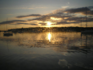 """""""It was raining and I was in the cabin, looking out through the plastic port, when I captured this golden showers sunset."""""""