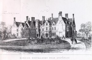 Drawing of new Shephall Manor 1865